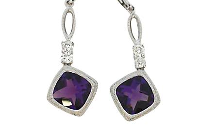 Amethyst and Diamond Dangles