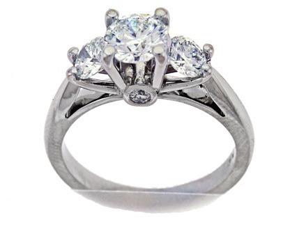 Cathedral Style 3-Stone Diamond Ring
