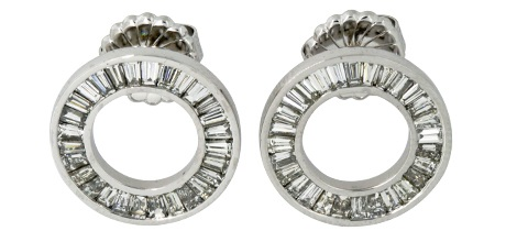 Channel Set Diamond Circle Earrings