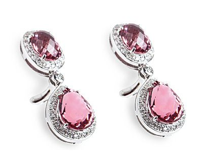Dazzling Pink Sapphire and Diamond Earrings