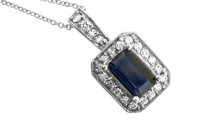 Emerald Cut Sapphire and Diamond Pendant