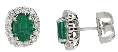 Oval Emerald and Diamond earrings