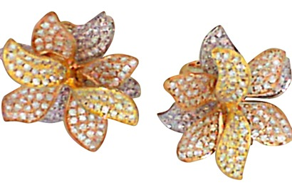 Pave Diamond Tricolor Gold Earrings