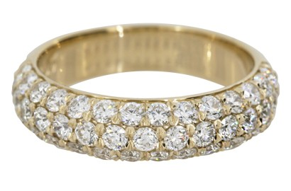 Pave-Set Diamond Eternity Band in Yellow Gold