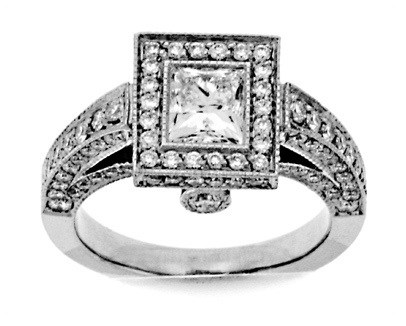 Princess Cut Pave Egagement Ring