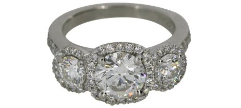 Three-Stone Halo Diamond Ring