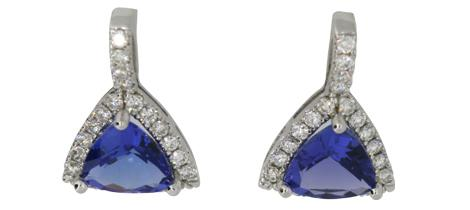 Trillion Cut Sapphire and Diamond earrings