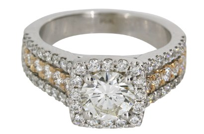 Two-Tone Halo Engagement Ring