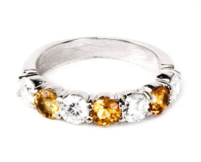 White and Yellow Diamond Band