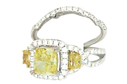 Yellow Diamond Three-stne Ring and Matching Band