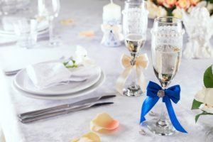 spring wedding and wedding ring table setup